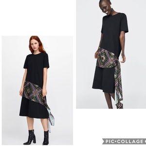 NWT Zara black knit dress with scarf
